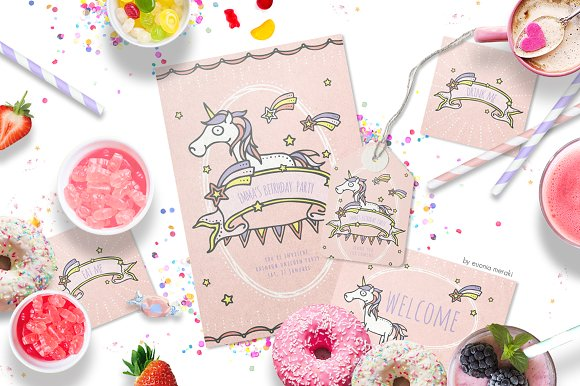30%OFF Unicorn Party Invitation Set