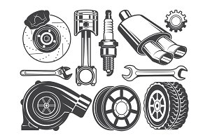 Monochrome pictures of engine, turbocharger cylinder and other automobile tools