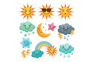 Cartoon weather icons set. Funny pictures isolate on white background