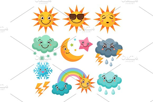 Cartoon Weather Icons Set Funny Pictures Isolate On White Background
