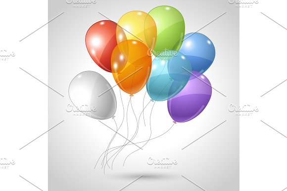 Stylish Background With Flying Balloons