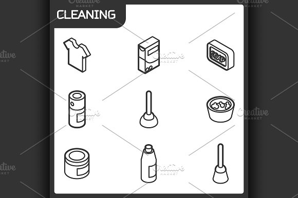 Cleaning Outline Isometric Icons