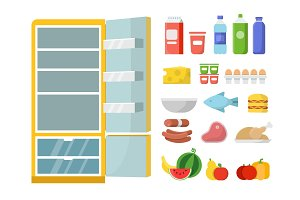 Empty refrigerator and different food. Vector flat illustrations