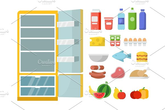 Empty Refrigerator And Different Food Vector Flat Illustrations