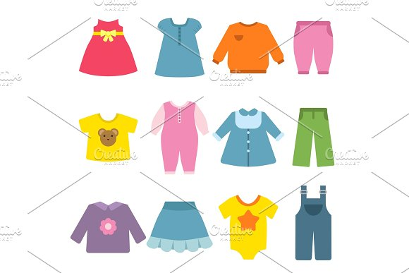 Clothes For Childrens Vector Flat Illustrations
