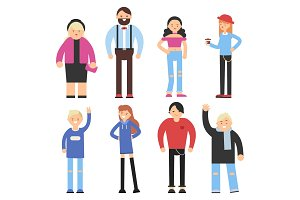 Cartoon flat characters of different peoples