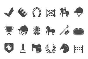 Silhouettes of equestrian sport symbols. Racing horse