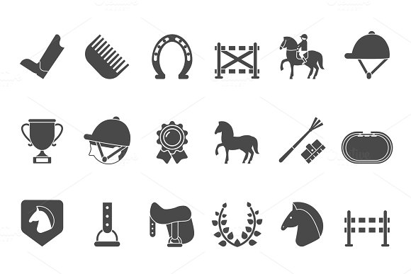 Silhouettes Of Equestrian Sport Symbols Racing Horse
