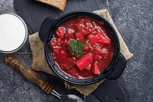 Traditional Ukrainian beetroot soup borsch