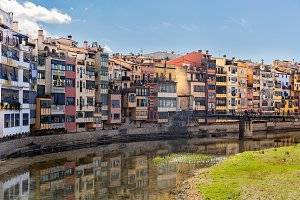 Colorful Houses in Girona, Catalonia
