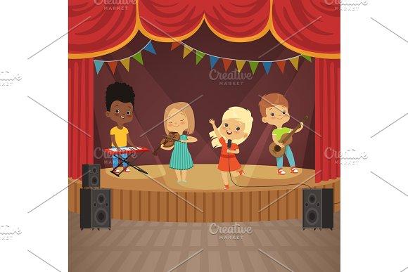 Music Kids Band On Concert Scene