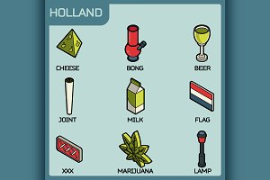 Holland color outline isometric icon