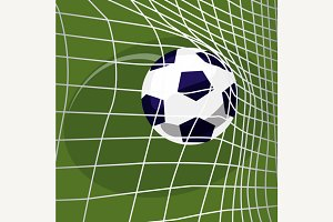 Soccer ball falls into net of goal