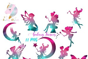 Galaxy Fairies Silhouette Clipart