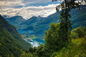 Aerial panorama view to Geiranger fjord from Trollstigen, Norway