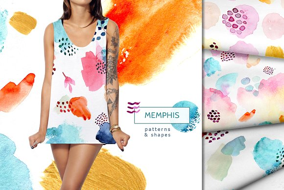 Watercolor Memphis Patterns Shapes