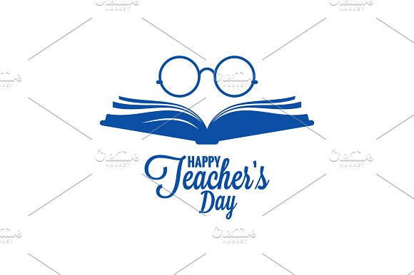 Teachers Day Logo Glasses And Book