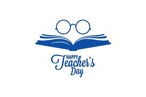 Teachers day logo. Glasses and book