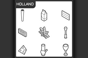 Holland outline isometric icons