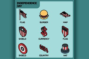 Independence day color icons
