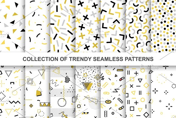 Memphis Trendy Seamless Patterns