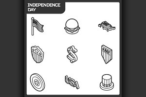 Independence day outline icons