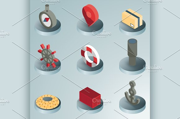 Seaport Color Isometric Icons