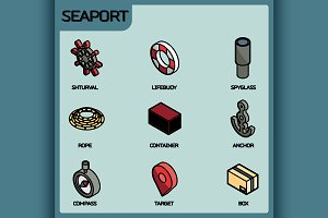 Seaport color outline isometric icon