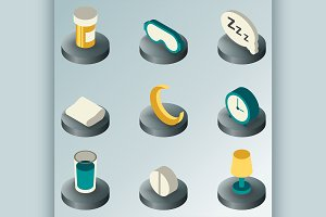 Sleep color isometric icons