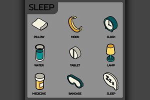 Sleep color outline isometric icons