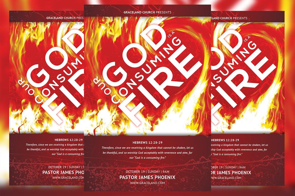 Consuming Fire Church Flyer Flyer Templates Creative Market