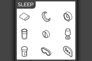 Sleep outline isometric icons