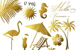 Gold Foil Summer Clipart