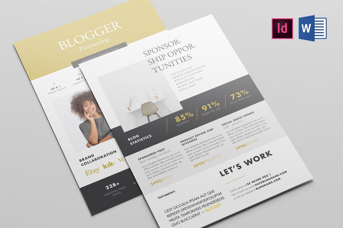 blogger kit proposal brochure templates creative market