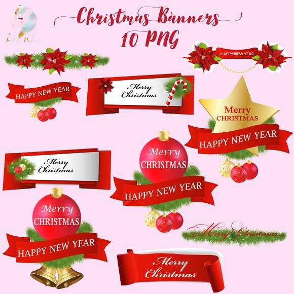 Christmas Banners Clipart