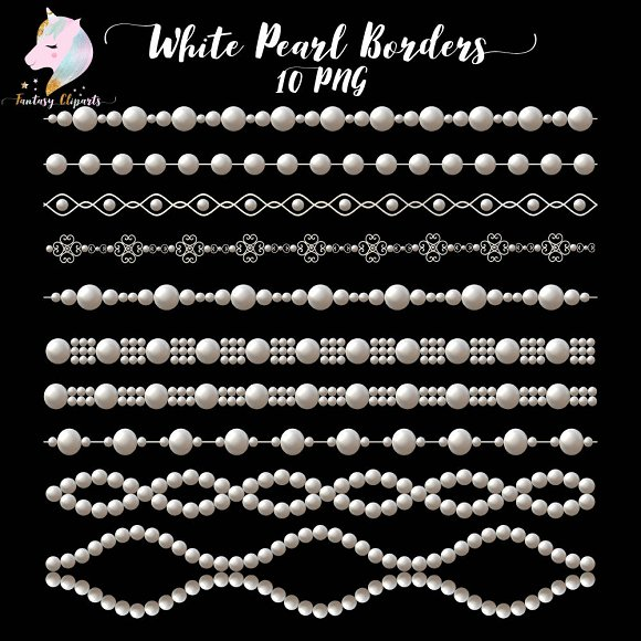 White Pearl Borders Clipart