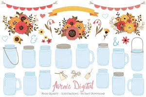 Fall Wedding Mason Jar Cliparts