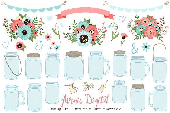 Coral And Turquoise Mason Jar