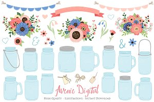 Coral and Navy Wedding Mason Jar