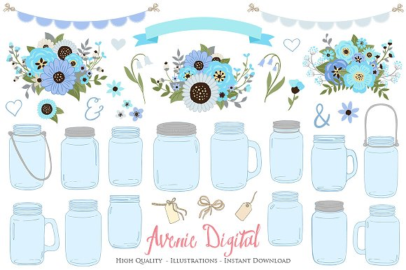 Blue And Gray Mason Jar Clipart