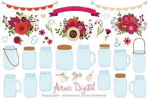 Red Wedding Mason Jar Cliparts