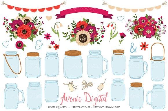 Red Wedding Mason Jar Cliparts