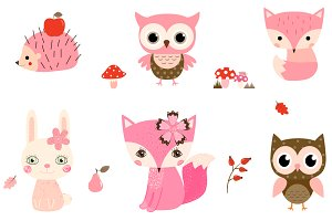 Cute Pink Woodland Animals Clipart