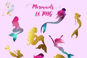 Gold Foil & Galaxy Mermaids Clipart