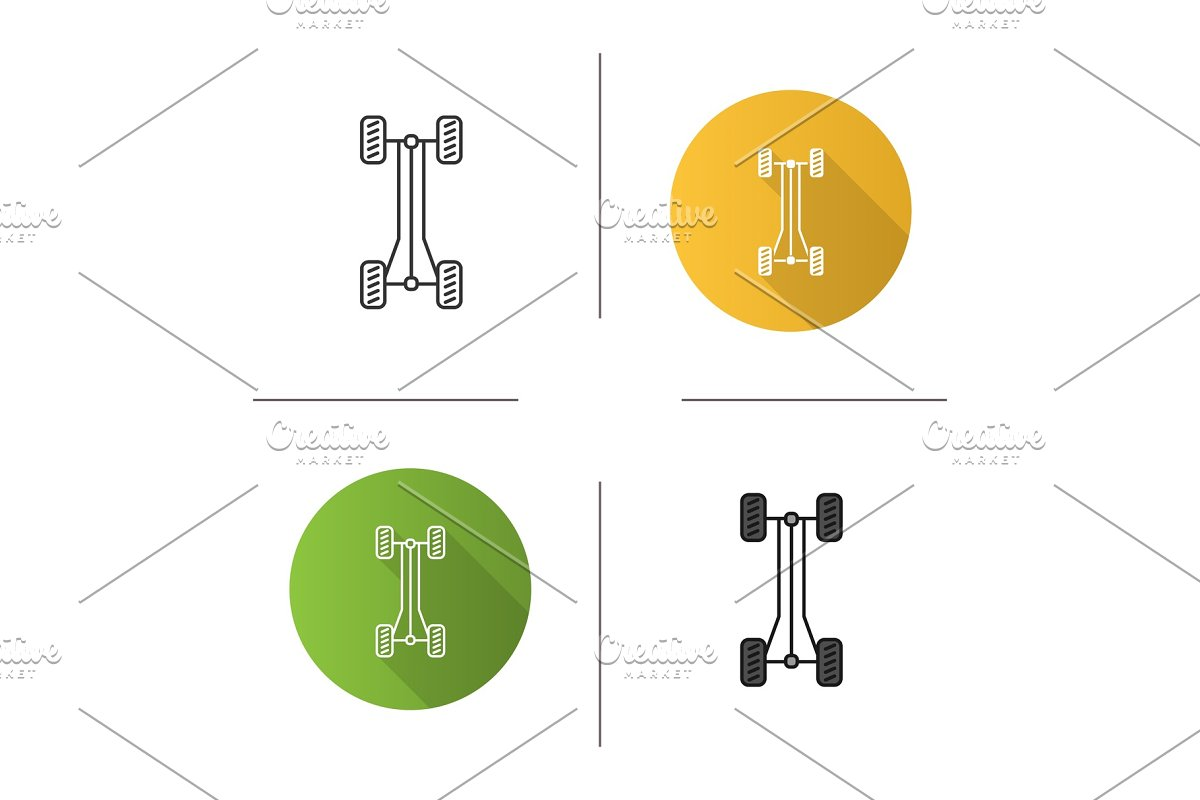 Car chassis frame icon