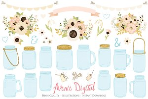 Gold and Ivory Wedding Mason Jar