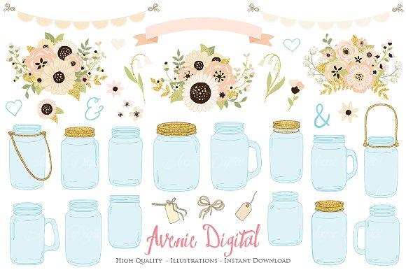 Gold And Ivory Wedding Mason Jar