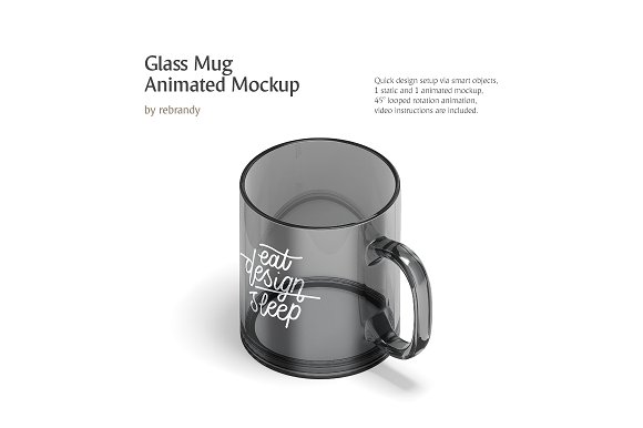 New Glass Mug Animated Mockup