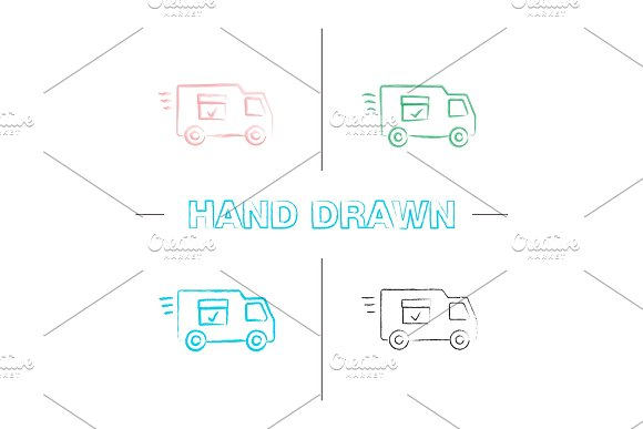 Delivery Van With Checkmark Hand Drawn Icons Set
