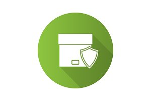 Secure delivery flat design long shadow glyph icon
